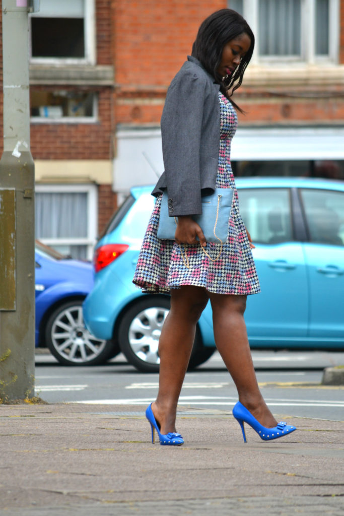 STYLING BLUE SHOES, CHURCH DRESSES, TRAVEL LEICESTER UK