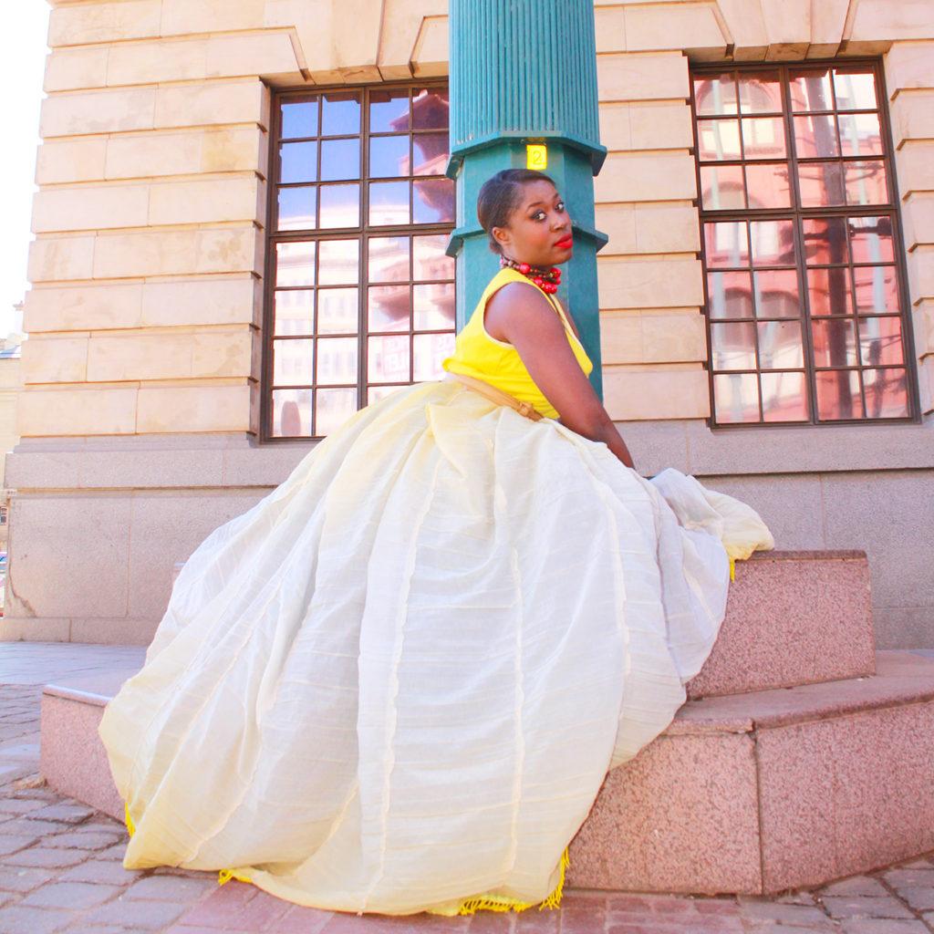yellow dress, pretoria cbd, athalia pilane